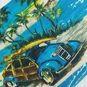 Vintage Beach Buggy Surfer Scene Wood Handle Bag